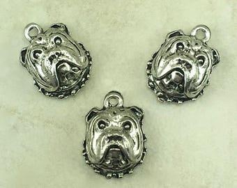 Bull Dog Head Charm > Bulldog Breed Puppy Yale University Georgia Raw - American made Lead Free Silver Pewter - I ship internationally