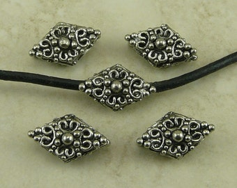 5 Ornate Diamond Scroll Beads - Large Hole Victorian Steampunk Antique Style - Raw American Made Lead Free Pewter - I ship internationally