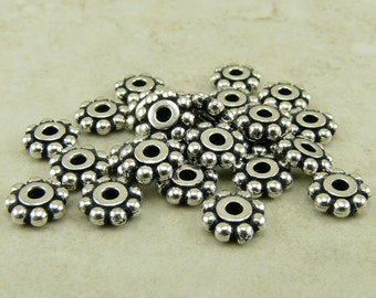 25 TierraCast 6mm Daisy Beaded Heishi Spacer Beads * Fine Silver Plated Lead Free Pewter - I ship internationally NP