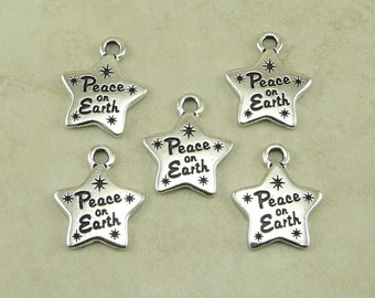 5 Tierracast Peace on Earth Star Charms - Holiday Ornament World Peace Love - Silver plated Lead Free Pewter - I ship Internationally NP