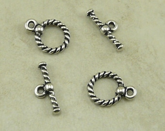 TierraCast Small Twisted Rope Toggle Clasp - Silver Plated Lead Free Pewter - I ship Internationally 6036