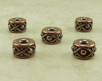 5 TierraCast Legend 8mm Large Hole Spacer Beads > Bali Style Barrel - Copper plated Lead Free Pewter - I ship Internationally - 5687-12