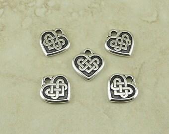 Small Heart Shaped Celtic Knot Charms > Love Irish Ireland Qty 5 - TierraCast Fine Silver Plated Lead Free Pewter I ship Internationally NP