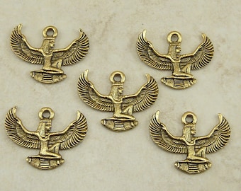 Egyptian Goddess with Wings Charms > Egypt God Qty 5 - Raw American made Lead Free Pewter in gold tone finish - I ship internationally