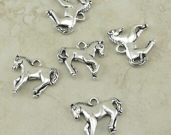 Horse Charm Yearling TierraCast Qty 5 > Cowboy Western Equestrian Pony Mustang - Silver Plated Lead Free Pewter - I ship internationally NP