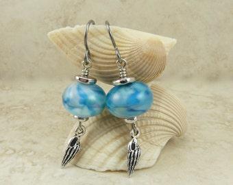 Ocean Sea Shell Seashell Lampwork Bead Earrings > Sea Beach Sand Summer Coast Coastal - Hypoallergenic Niobium Ear Wires