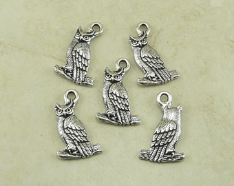 5 TierraCast Owl Charms > Halloween Horned Owl Barn Woods Harry Potter Wise - Silver Plated Lead Free Pewter - I ship Internationally 2383