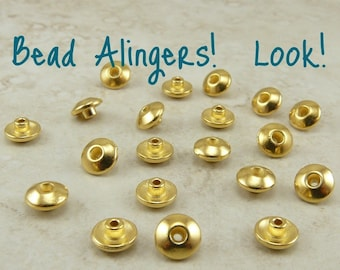 20 TierraCast Bead 6mm Classic Bead Aligner Bead Caps *  Spacer Tierra Cast - 22kt Gold Plated Lead Free Pewter NP