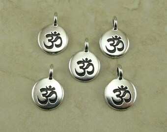 Round Om Ohm Aum Charms > Zen Yoga Buddhism Stampable Spiritual Qty 5 - TierraCast Silver Plated Lead Free pewter  I ship Internationally NP
