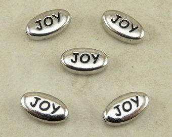 5 TierraCast JOY Word Beads * Happy Christmas Sentiment - Rhodium Silver Plated Lead Free Pewter I ship Internationally NP