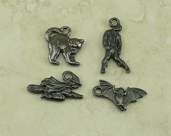 4 TierraCast Halloween Charms Mix Pack > All Hallows Eve October 31 Trick or Treat - Black Ox Plated Lead Free Pewter I ship Internationally