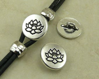 TierraCast Small Lotus Button > Flower Zen Buddhist Yoga Buddha - Fine Silver Plated LEAD FREE Pewter - I ship Internationally 6578