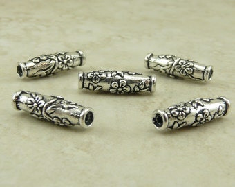 Wild Rose Barrel Beads > Flower Floral Garden Wedding Bridal Qty 5 - TierraCast Silver Plated Lead Free Pewter - I ship Internationally NP
