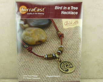 TierraCast Quick Kit Bird in a Tree Necklace - Leather Brass Tree of Life Charm - American Made Lead Free Pewter - I ship Internationally