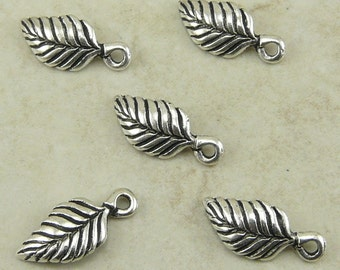 Birch Tree Leaf Charms > Garden Plant Leaves Botanical TierraCast Qty 5 - Silver Plated Lead Free Pewter - I ship internationally NP