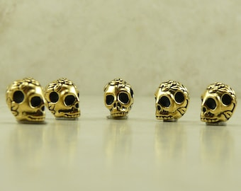 Rose Flower Skull Beads Horizontal Large Hole Gothic Halloween Qty 5 TierraCast 22kt Gold Plated Lead Free Pewter I ship internationally NP