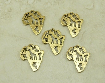 5 African Safari Continent Charms > Africa Animals Giraffe Raw American Made Lead Free Pewter Gold Tone Finish - I ship internationally