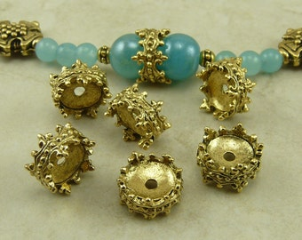 6 Ornate Double Sided Crown Bead Caps > 9mm Victorian Antique Steampunk - Gold Tone American Made Lead Free Pewter I ship internationally