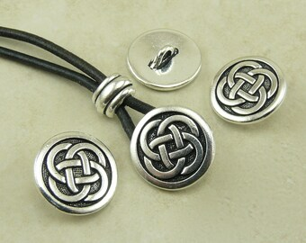 3 TierraCast Solid Celtic Knot Buttons > Irish Ireland Knotwork St Patricks Day - Silver Plated LEAD FREE Pewter I ship Internationally 6567