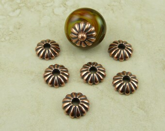 6 TierraCast 10mm Large Hole Joy Bead Cap - Ribbed Flower Basic - Copper Plated Lead Free Pewter - I ship Internationally 5696