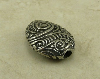 Swirly Pebble Green Girl Bead - Large Focal Zen Doodle Spiral Swirl Henna Nugget Tangle - American Artist Made Lead Free Pewter Silver 158