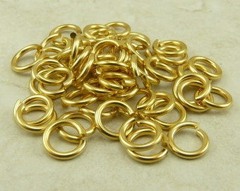 50 TierraCast 5mm 16g Jumprings jump rings > 22kt Gold Plated Brass - I ship internationally NP