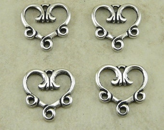 4 TierraCast 3-1 Vine Heart Link Connector > Valentine Love Bride Bridal - Silver Plated LEAD FREE Pewter bead - I ship Internationally 3094