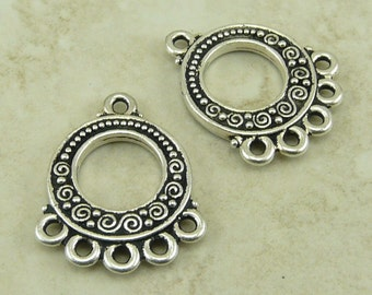 2 TierraCast Spirals and Beads 5-1 Link Earring Links - Fine silver plated lead free pewter - I ship Internationally 3077