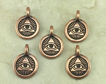 Eye of Providence Round Stamp charm > Pyramid Ra Horus Egyptian Freemason US Seal Copper Plated Lead Free pewter I ship Internationally NP