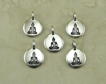 Buddha Round Charms TierraCast Qty 5 > Zen Yoga Buddhism Stampable Spiritual - Silver Plated Lead Free pewter - I ship Internationally NP