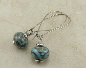 Silvered Ivory with Turquoise Swirls Lampwork Bead Earrings - Weathered Antiqued Zen Doodle Tangle  - Surgical Steel Kidney Ear Wires