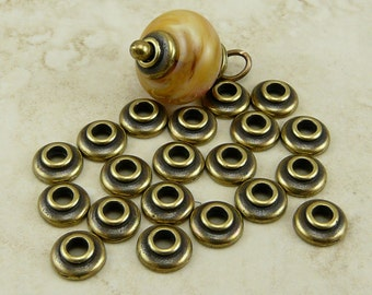 20 TierraCast 7mm Classic Large Hole Bead Caps * Tierra Cast Brass Ox Plated LEAD FREE pewter - I ship internationally NP