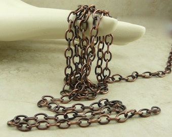 1 Foot TierraCast 6x4mm Cable Chain - Copper Plated Brass American Made - I ship Internationally 0425
