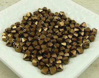 Bronze Metallic - Czech Bohemian Machine Cut 6mm Bicone Crystals - Qty of 24 beads - Golden Copper - I ship Internationally