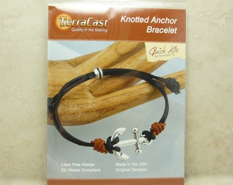 Knotted Anchor Bracelet > TierraCast Quick Kit - Nautical Boat Yacht Ocean Leather - American Made Lead Free Pewter - I ship Internationally