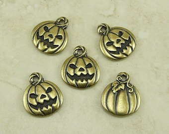 Pumpkin Jack O Lantern Charms  - Halloween Trick or Treat Qty 5 TierraCast Brass Ox Plated Lead Free Pewter - I ship Internationally NP