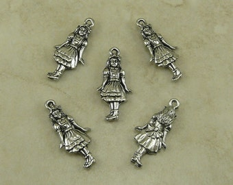 5 Alice in Wonderland Charms - Fantasy Story Book Girl Doll Tea Party - American Made Lead Free Pewter Silver - I Ship International