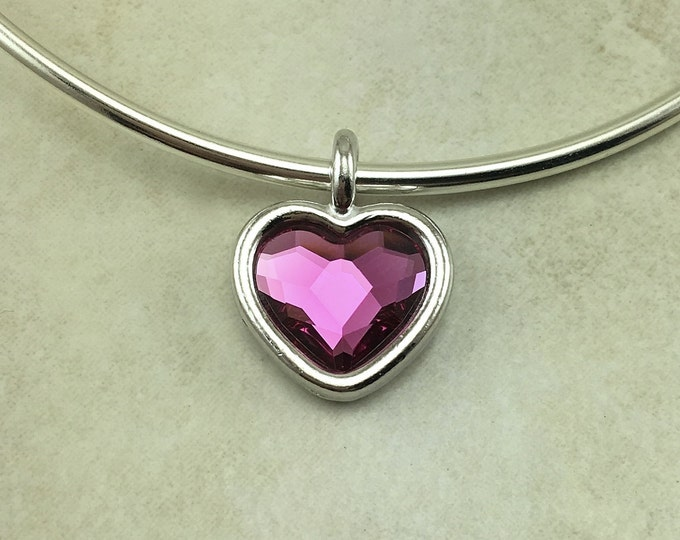 Featured listing image: 1 TierraCast Fuchsia  Swarovski Faceted Heart Shape Pink Charm Valentine Love Wire Bracelet Crystal - Rhodium Plated LEAD FREE Pewter 6818