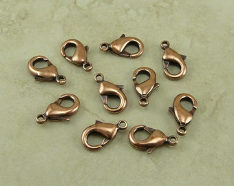 Lobster Claw Clasps Small 12mm x 7mm Qty 10 TierraCast Closure Clip Spring Finding - Copper Plated Lead Free I ship Internationally NP
