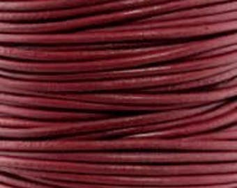 "2mm Round Corona Red Leather Lace Cord - 2mm 3/32"" Diameter Wine Burgundy Craft Jewelry Bracelet Wrap Necklace - I ship Internationally"