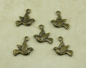 Peace Dove Bird Charms > Olive Branch Peaceful Dove Qty 5 - TierraCast Brass Ox plated Lead Free Pewter - I ship Internationally NP