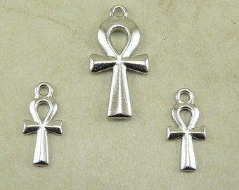 3 TierraCast Egyptian Ankh Charm & Pendant Mix Pack > Egypt Key Hieroglyphic Rhodium Silver Plated Lead Free Pewter I ship Internationally