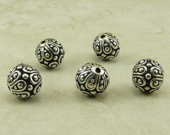 5 TierraCast Ornate Casbah Round Beads > Bali Style Exotic - Silver Plated Lead Free Pewter - I ship internationally 5626