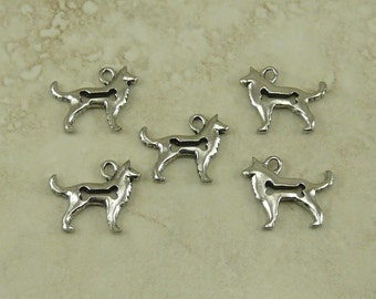 5 Open Dog Bone Charms > Big Husky Collie Golden Retriever - Unfinished American made Lead Free Silver Pewter I ship internationally