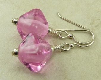 Princess Pink Crystal Glass Lampwork Bead Earrings - Hot Pink Sapphire Barbie Breast Cancer Awareness - Sterling Silver Ear Wires