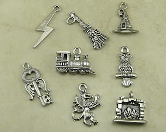 8 Harry Potter Inspired Theme Charm Mix Pack > Lightning Bolt Broom Train Hat Owl Key Lion Hearth - American Made Lead Free Pewter Silver
