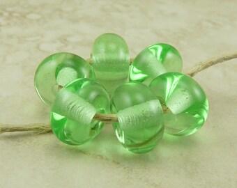 6 Peridot Absinthe Transparent Green Lampwork Spacer Beads > Lampwork Spacer Bead Set - SRA - I ship Internationally