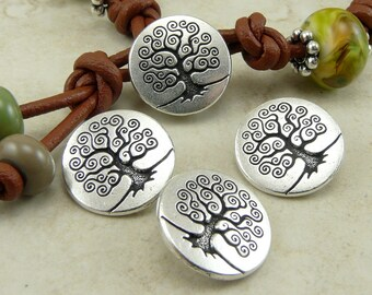 Buttons Spiral Tree of Life TierraCast > Bodhi Zen Nature Yoga Peace Qty 3 - Silver Plated LEAD FREE Pewter - I ship Internationally 6562