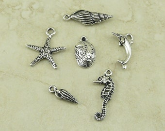 6 TierraCast Ocean Life Sea Shell Dolphin Seahorse Charms Mix Pack > Silver Plated Lead Free Pewter - I ship Internationally 2373