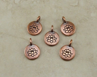 Round Lotus Stamp charms > Zen Yoga Buddhism Stampable Qty 5 - TierraCast Copper Plated Lead Free pewter - I ship Internationally NP
